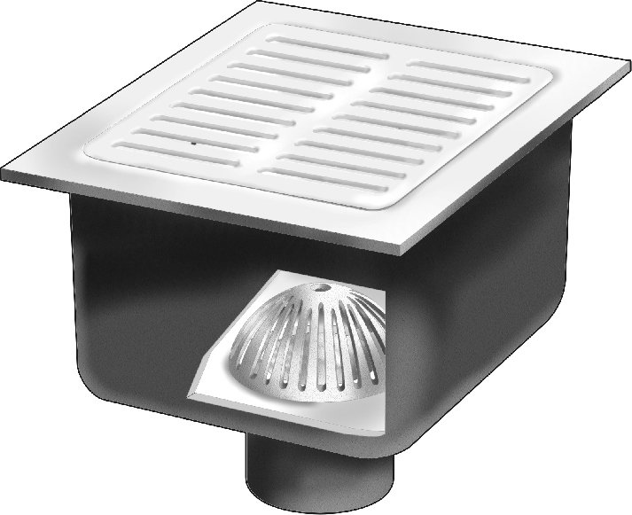 Fs1730 fl 12 x 12 x 8 deep floor sink with flange for 12 x 12 floor drain grate
