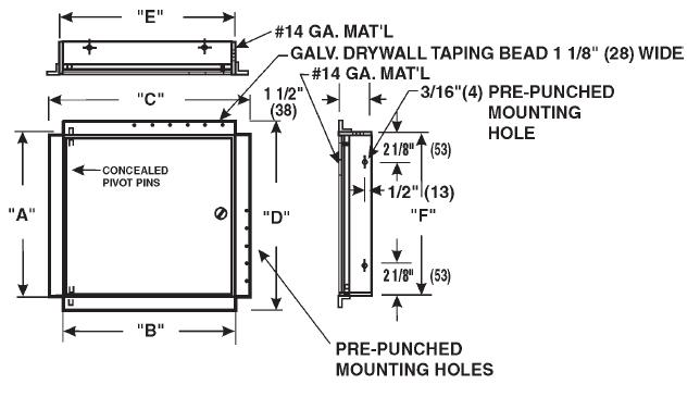 Model Mdw2424 Mdw Drywall Bead Access Doors