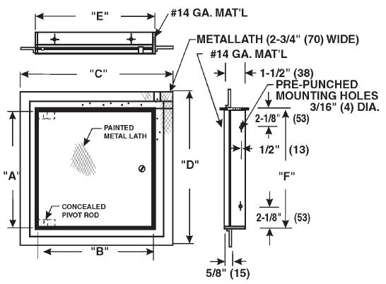 Model Cad Pl1818 Cad Pl Ceiling Or Wall Access Doors