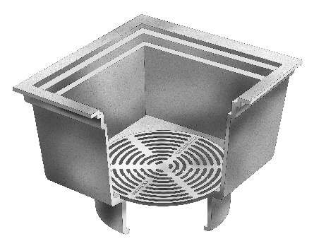 F1860 12 square open hopper drain with loose set bottom for 12 x 12 floor drain grate
