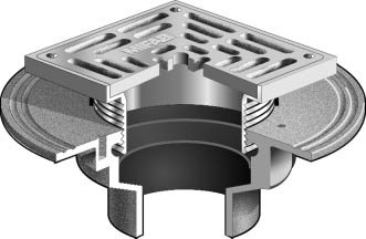 F1000 S Floor Drain With Heavy Duty Square Stainless Steel