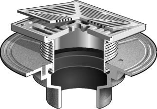 Floor Drain Square Solid Hinged Cover For Non Membrane Areas