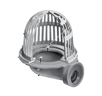 R1100-90 Small Sump Roof Drain with Side Outlet