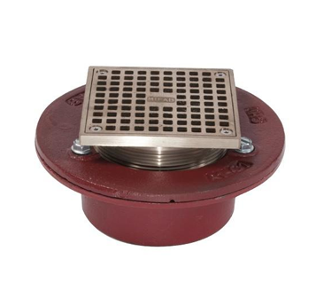 F100-C-S Square Adjustable Floor Drain with Flange and Clamp
