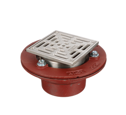 F1000-C-S Floor Drain with Heavy Duty Square Stainless Steel Strainer