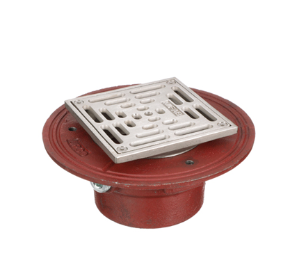 F1000-S Floor Drain with Heavy Duty Square Stainless Steel Strainer