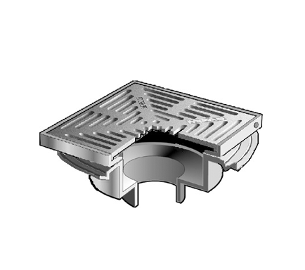 F1440-Y-Q Drain with 12″ Non-Adjustable Tractor Grate