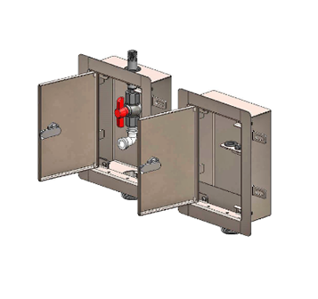 MI-DIAL-DB Compartmentalized Dialysis Supply & Waste Box with FRP Valve and Trap Seal Primer