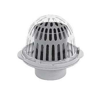 R100-OF Cast Iron Roof Drain with Aluminum Dome and Overflow Standpipe