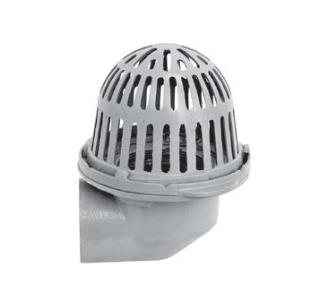 R100-90 Cast Iron Roof Drain with Aluminum Dome and Side Outlet